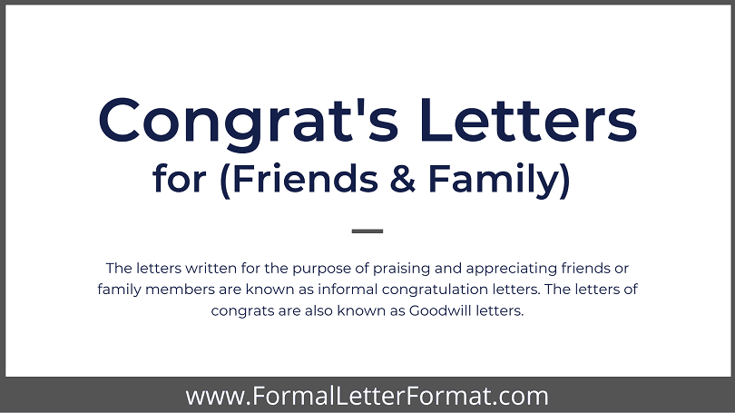 Congratulation Letters for Friends and Family - Write a Congratulation letter or a Congrats Note to a Friend