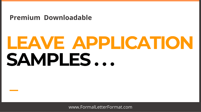 Samples for Leave Applications [WordPDF Samples] Download